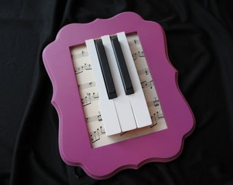 Framed Piano Keys with Vintage Sheet Music - 5 x 7 Wood Frame in Pink- Gifts for Musicians & Pianists - Music Decor- Piano Teacher Gift