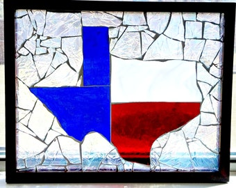 Glass Mosaic State of Texas, upcycled frame, sun catcher, wall hanging, Texas art