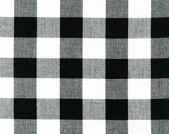"Black 1"" Plaid Cotton, Carolina Gingham,Black Scarf Fabric,Black White Quilting fabric, Apparel Fabric, Plaid cotton Scarf, Robert Kaufman"