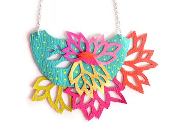 Statement Necklace, Leaf Flower Necklace, Bib Necklace, Lace Necklace, Geometric Necklace, Leather Necklace, Colorful Statement Jewelry