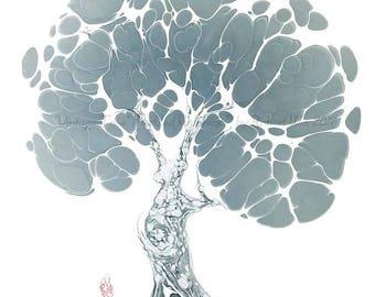 Vintage Tree in Grey - The Original Marbled Graphics™, Marbling Art by Robert Wu