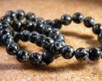 20 beads natural PP109 6 mm snowflake Obsidian