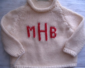 Toddler  Boy or Girl  12/18 mos & 18 mos - 3-Letter Monogram Handknit Cotton Sweaters