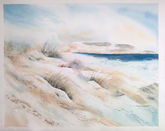 Original watercolor, painting of sea, seascape, french coasts