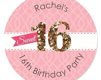 Sweet 16 Circle Stickers - Personalized Birthday Party DIY Craft Supplies - 24 Count