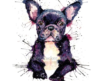 Watercolour French Bulldog, Fine art print