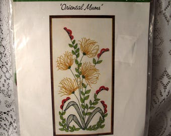 Vintage Oriental Mums Needlecraft Stitchery Kit Picture New Package 1970's Wonderart Crewel Retro Shabby Romantic Chic French Farmhouse