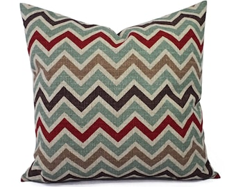 Two Decorative Throw Pillow Covers - Burlap Pillow Covers - Red Brown Blue and Cream Chevron Pillows - Pillow Sham - Pillow Case