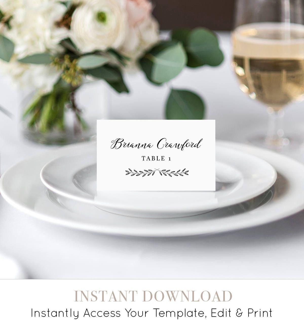 Place Card Template Printable Wedding Escort Card Name Card - Wedding name tag template