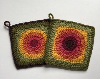 Set of 2 • Fall Squares Handmade Crochet Cotton Potholder Trivets