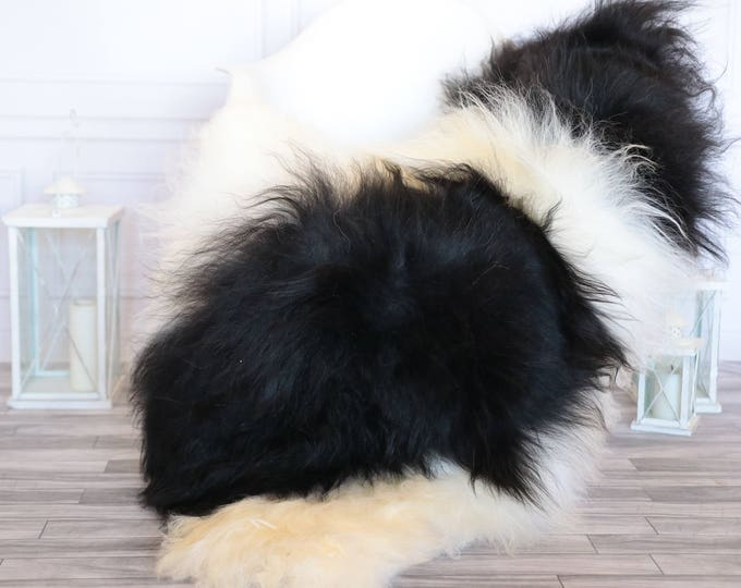 Icelandic Sheepskin | Real Sheepskin Rug | Ivory black Sheepskin Rug | Fur Rug | Christmas Decorations #ISLA17