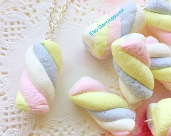 Handmade marshmallow necklace Food necklace Dessert necklace Sweets necklace Pastel necklace Kawaii necklace Kawaii jewelry Cute gift