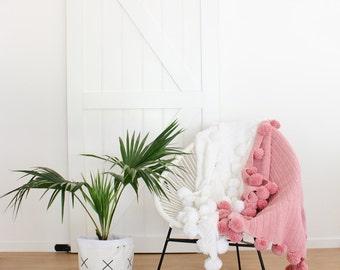 Dusty Pink Crochet POM POM blanket