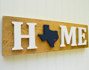 """Houston Texans """"State Heart"""" Home Sign - Handcrafted wood with official team colors"""