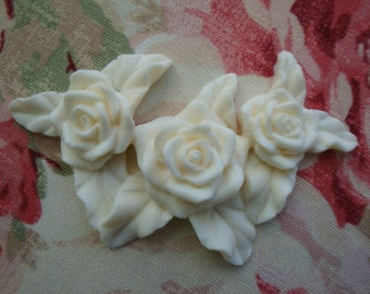 Shabby and Chic Triple Rose Furniture Applique Embellishment Onlay Mount