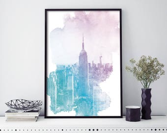 Empire State Building, New York Watercolour Print Wall Art | 4x6 5x7 A4 A3 A2