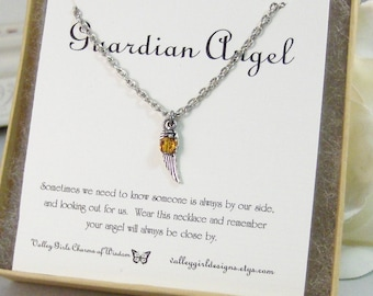Guardian Angel,Necklace,Antique Necklace,Silver,Angel Necklace,Angel,Birthstone,Personalize,,Antique.Jewelry by valleygirldesigns.