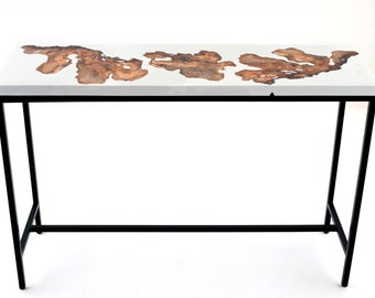 White Burl 180 White Epoxy resin High top bar table