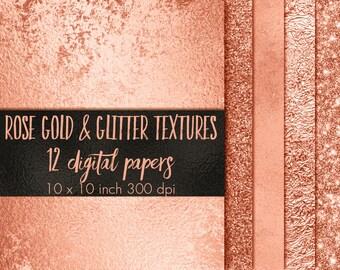 Rose gold paper pack, Rose gold patterns, Rose gold textures, Rose gold backgrounds, digital paper clipart, Rose gold glitter, sparkly paper