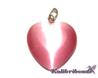 Cats Eye Glass Heart Pendant 20mm - Rose (1 pc.)