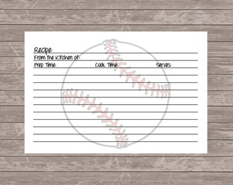 Baseball Recipe Cards - Set of 10 - 4x6 - Bridal Shower - Sports Lover - New Home