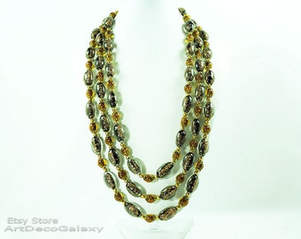 """Italian """"Sommerso"""" Aventurine Glass Beads Necklace"""