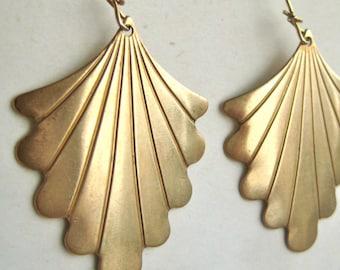 Vintage art deco brass leaf earrings