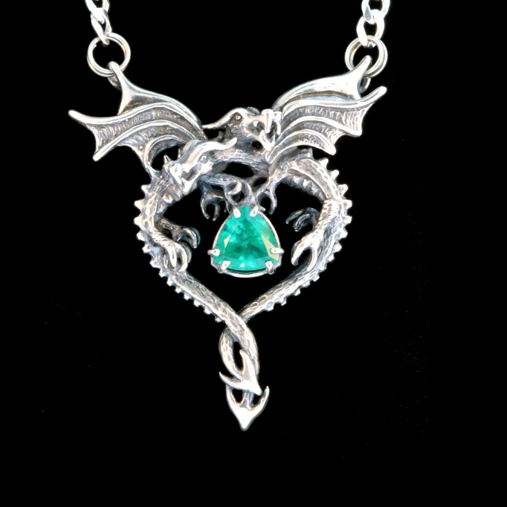 Silver dragon heart pendant with emerald dragon jewelry gothic zoom aloadofball Images