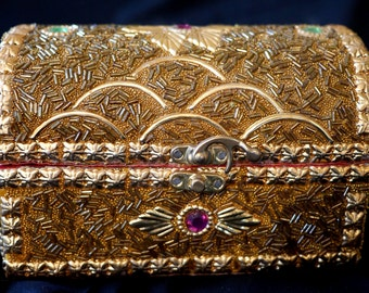 Jewellery Box, Patterned Gold Colour   Indian Wedding Box   Indian Jewellery   Weddings   Gold Box