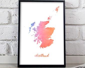 Scotland print Scotland poster Scotland art Watercolor Scotland Map poster wall art Scotland wall decor Gift poster