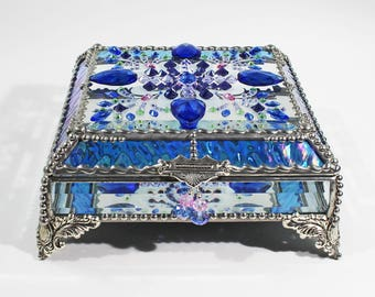 Jewel Encrusted 6x6 SILVER Jewelry Box