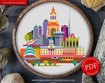 Dublin Cross Stitch Pattern for Instant Download *P152 | Easy Cross Stitch| Counted Cross Stitch|Embroidery Design| City Cross Stitch