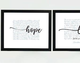 Digital Printable Scripture 8x10 INSTANT DOWNLOAD I Corinthians 13 Faith Hope Love full chapter 3-part wall art