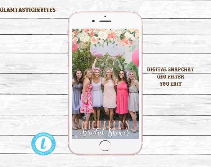 Floral Bridal Shower Geofilter, Snapchat Geofilter Bridal, Custom Geofilter, Custom Snapchat, Bridal Shower, Wedding Snapchat, YOU EDIT, DIY