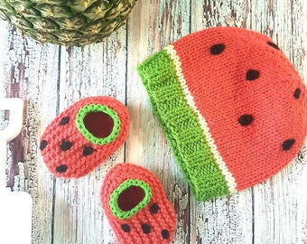 Wool Baby Watermelon Gift Set, Knit Hat and Booties