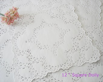White French lace paper doilies.  Wedding Favors. 25 square 12 inch doilies. Bridal shower. Party favors.