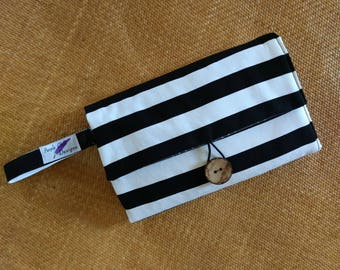 nappy wallet // diaper wallet // nappy clutch // diaper clutch with waterproof change mat - Black and White stripes