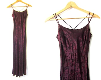 Long Purple Rose Print Dress Sexy Slip Dress Slinky Glamour Gown Strappy New Years Eve Dress Womens 5 6 Small