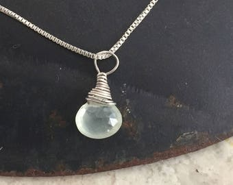 Prehnite and Sterling Silver Necklace