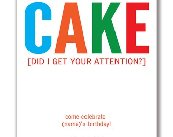 Customizable CAKE Party Invitation [Digital File ONLY]
