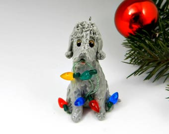 Bedlington Terrier Blue Christmas Ornament Figurine Lights Porcelain