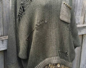 WAR ZONE DENIM Destroyed & Studded Khaki Batwing Knit Sweater Jumper Medium Upcycled Eco Hell n' Back Couture Original
