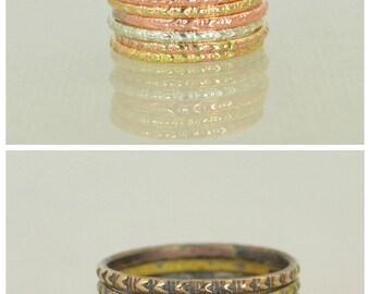 Tribal Rings, Bohemian Heart Stacking Rings, BoHo Rings, Stacking Ring, Rustic Ring, Sterling Ring, Brass Ring, Bronze Ring, Gold Ring-G10