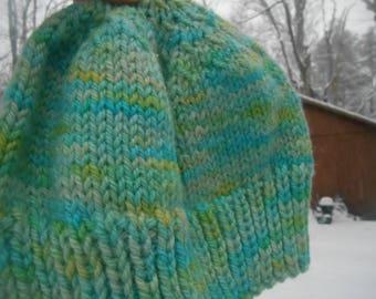 Hand knit knitted hand dyed handspun  bulky wool hat watch cap beanie spearmint yellow honeydew aqua women teens XL extra large