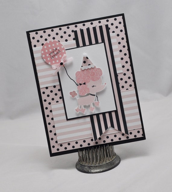 Handmade poodle birthday party invitation card baby shower bookmarktalkfo Images