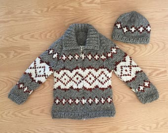New Hand Knit Child's Cowichan Style Sweater