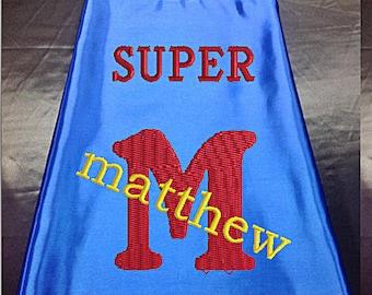 Super Hero Cape, Kid's Cape, Superhero, Costume Cape,  Embroidered Personalized with Name