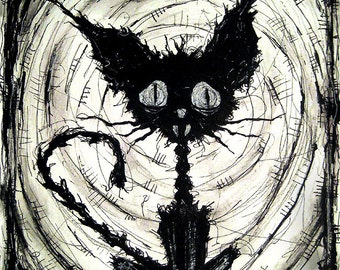 "Print 8x10"" - Black Cat 2 - Halloween Cats Stray Spooky Alley Dark Art Pets Cute Animal Creepy Gothic Art Black and White Kitty"