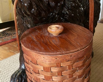 Fabulous Peterboro Basket Co. Ice Bucket with Lime Green Plastic Liner