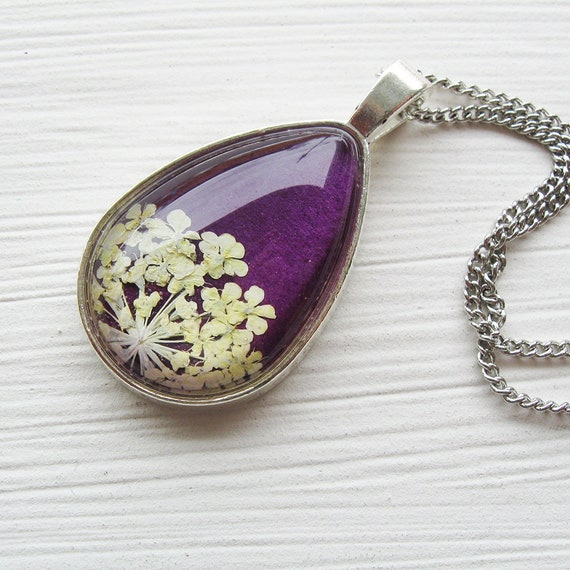 Mother's Day Gift - Real Pressed Flower Necklace - Violet Queen Anne's Lace Botanical Teardrop Necklace